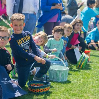 kids waiting to start easter egg hunt