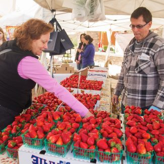 woman selling strawberries at farmers market