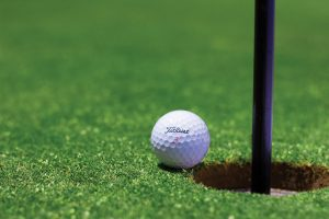 A golf ball on the putting green.