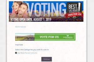 Screen shot of Inspirada Best of Las Vegas voting page.