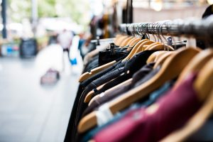 A rack of used clothing is just one of the things you'll find at the Giant Garage Sale