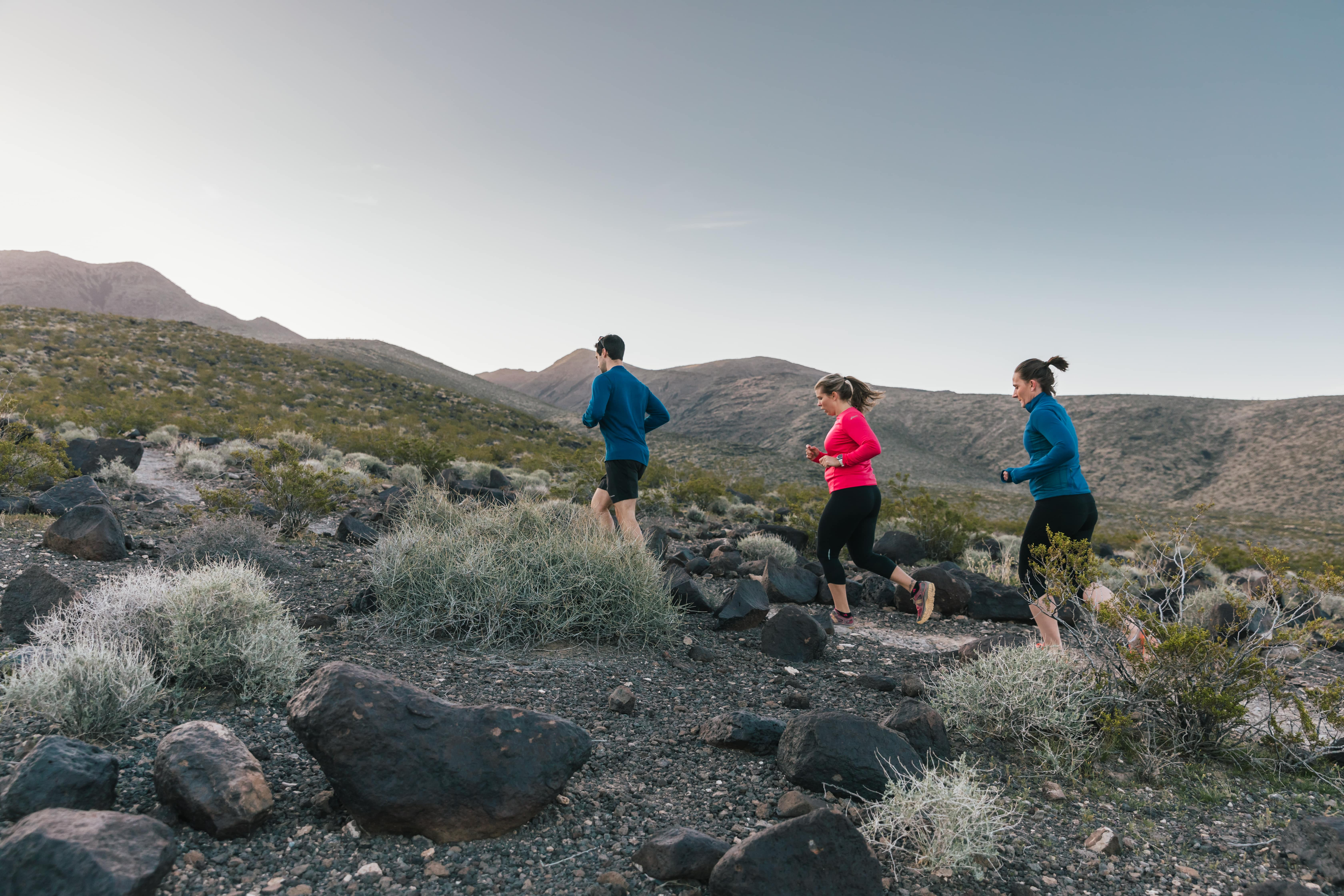 Two women and a man enjoy a run to see the sights of the valley.