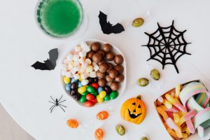 Halloween candy on a white table